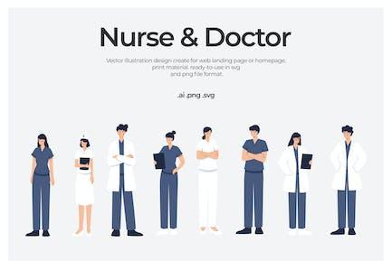 Arzt und Krankenschwester - Illustration
