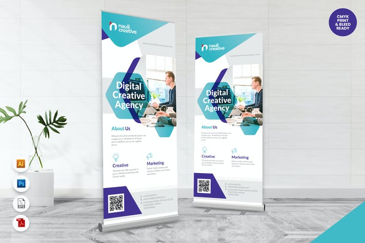 Thumbnail for Creative Roll Up Banner AI & PSD Template Vol.4