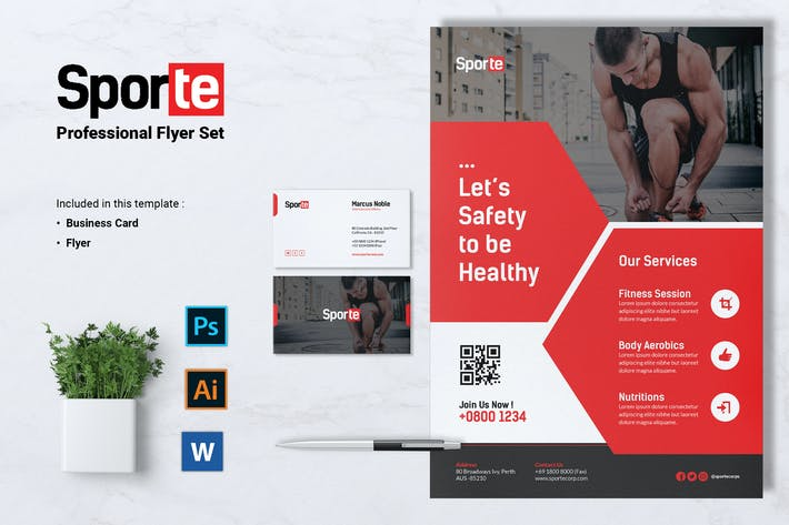 Thumbnail for SPORTE Sport Fitness & Gym Flyer & Business Card