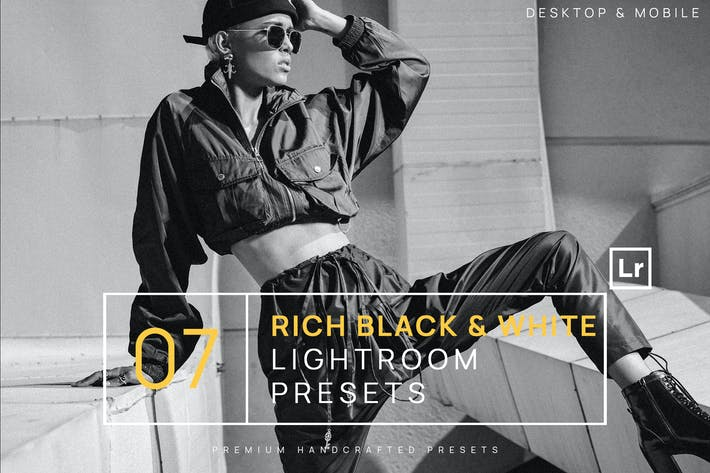 Thumbnail for 7 Rich Black & White BW Lightroom Presets + Mobile