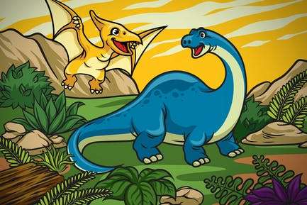 happy cheerful dinosaurs cubs in the nature