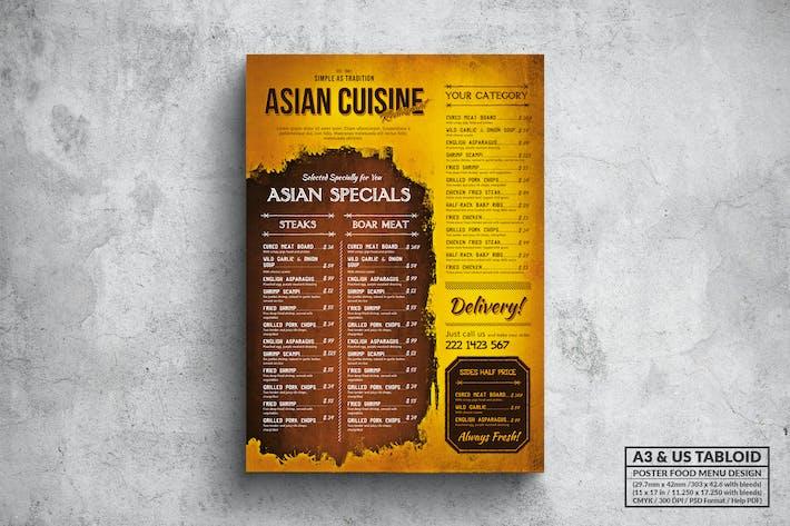 Thumbnail for Asian Cuisine Vintage Menu - A3 & US Tabloid