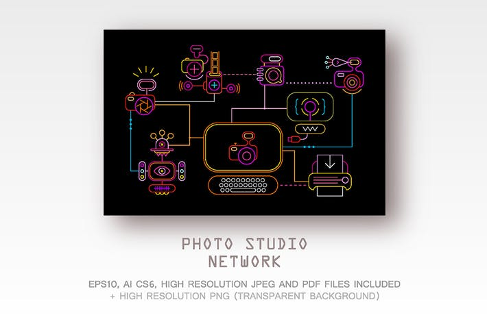 Thumbnail for Photo Studio Network vector illustration