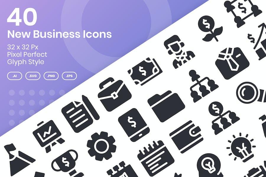 Juego de 40 nuevos Íconos de negocios - Glifo