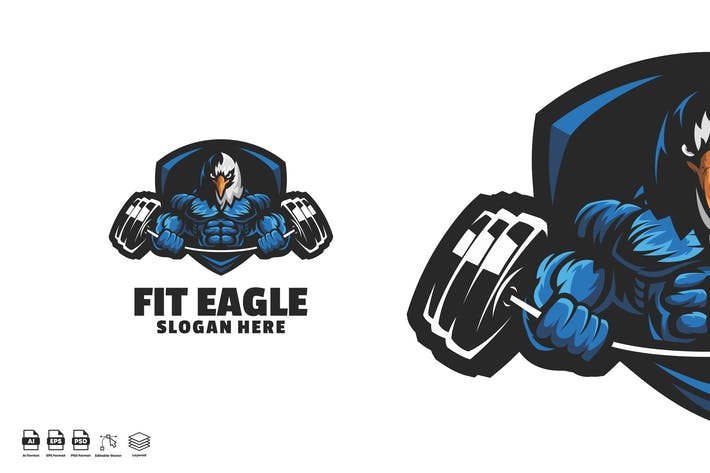 Thumbnail for Fit Eagle Mascot Logo template