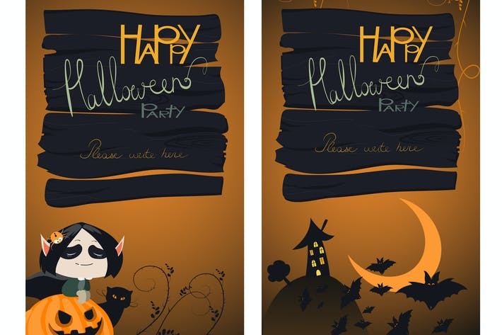 Cover Image For Halloween Banners Set. Vector Illustration.