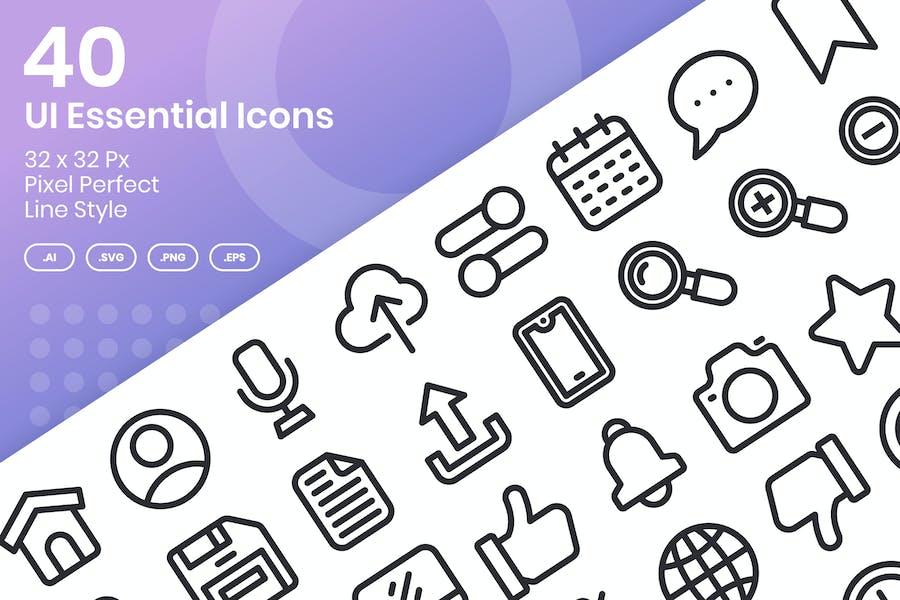 Conjunto de 40 Íconos esenciales de la interfaz de usuario - Línea