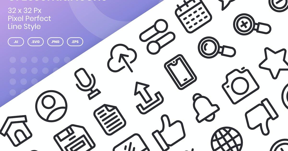 Download 40 UI Essential Icons Set - Line by kmgdesignid
