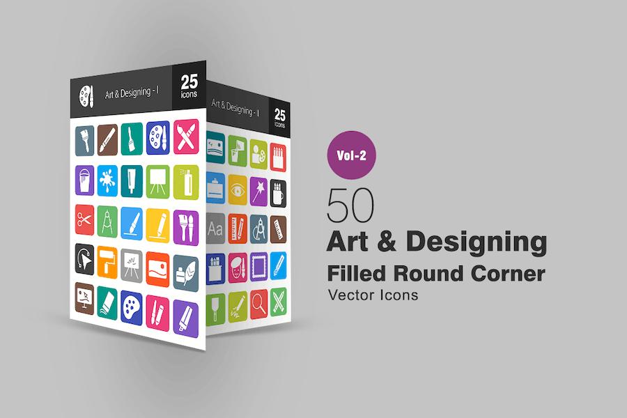 50 Art & Designing Filled Round Corner Icons