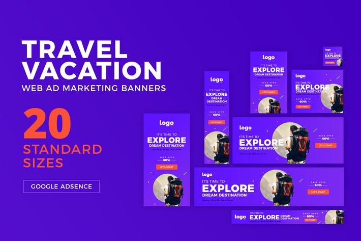 Thumbnail for Travel / Vacation Web Ad Marketing Banners