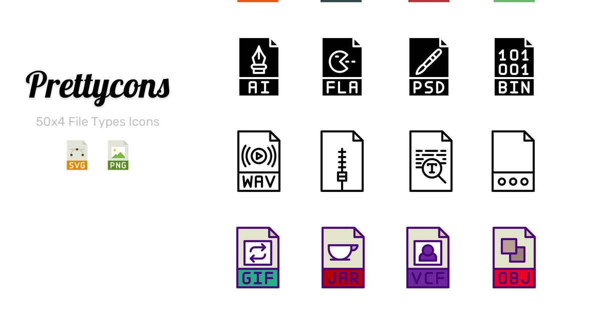 Download Prettycons - 200 File Types Icons Vol.1 by Prettycons
