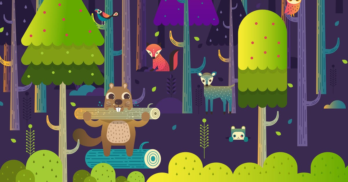 Download Forest Woodchuck With Cute Animal Characters by amritpaldesign