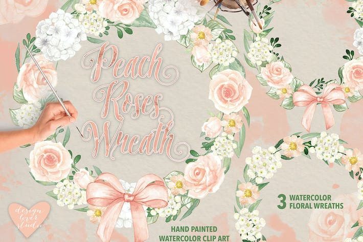 Thumbnail for Peach Roses Wreath design