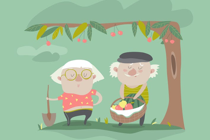 Thumbnail for Vector Illustration of adult gardener family