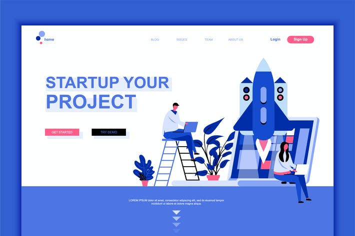 Thumbnail for Startup Your Project Flat Landing Page Template