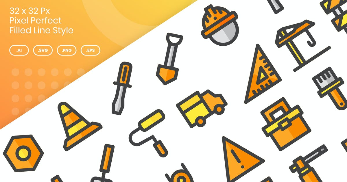 Download 30 Labor & Tools Icons - Filled Line by kmgdesignid