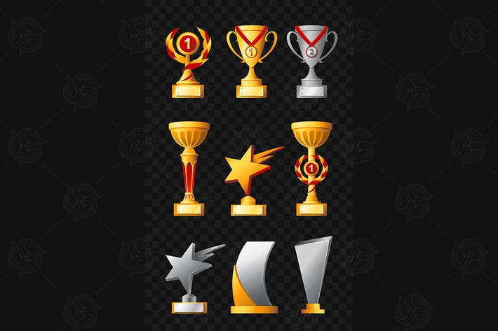 Награды - реалистичный вектор набор трофеев