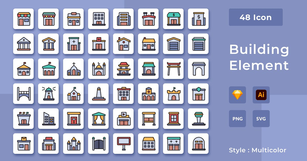 Download 48 Building Element Multicolor Style Icon Pack by usedesignspace