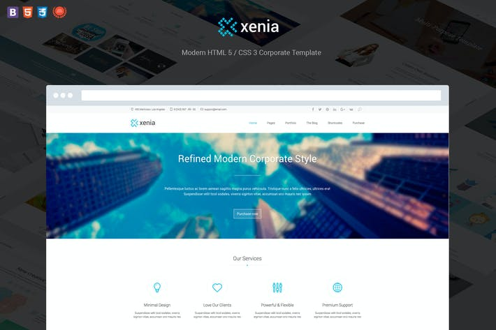 Thumbnail for Xenia - Refined HTML 5 / CSS 3 Corporate Template