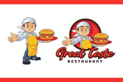 Cartoon Young Chef Holding Hamburger Mascot Logo