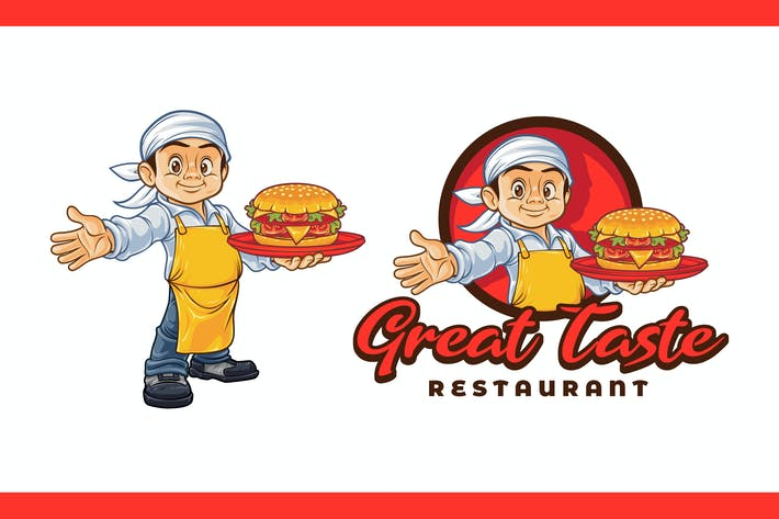 Thumbnail for Cartoon Young Chef Holding Hamburger Mascot Logo