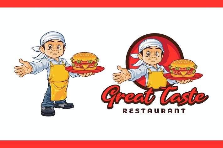 Thumbnail for Cartoon Young Chef Holding Hamburger Mascot Logo