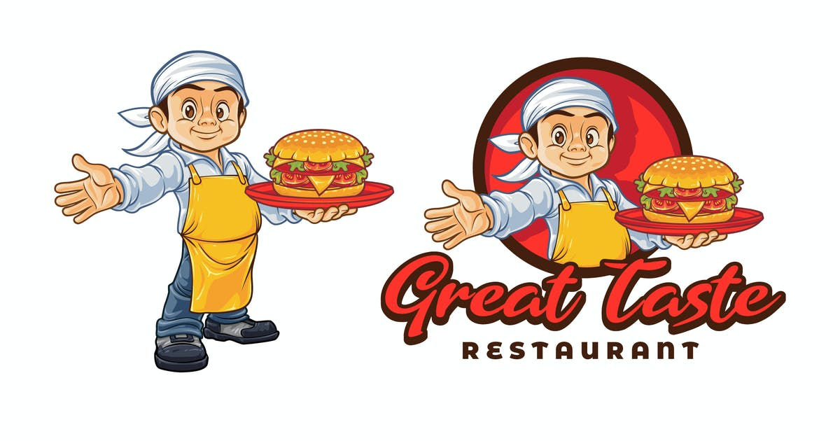 Download Cartoon Young Chef Holding Hamburger Mascot Logo by Suhandi