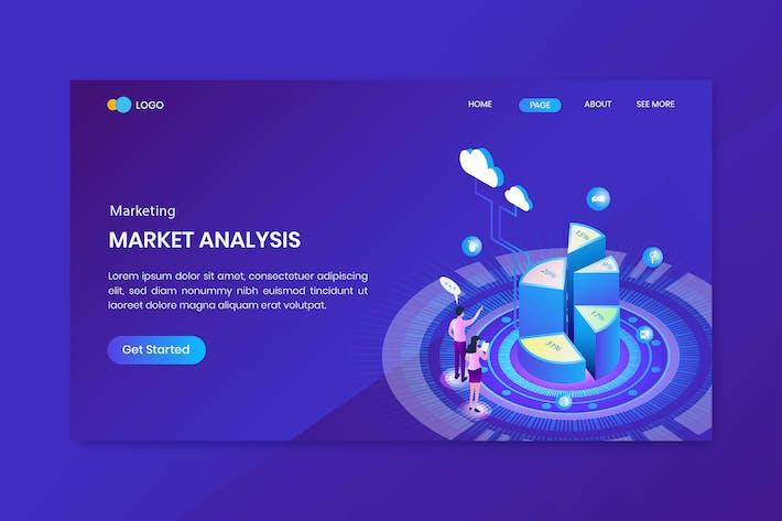 Thumbnail for Isometric Marketing Pie Chart Infographic Landing