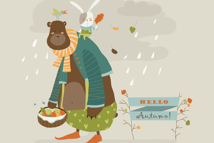 Thumbnail for Funny bear and little rabbit. Vector illustration