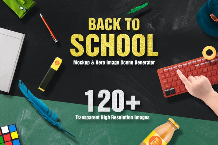 Thumbnail for Back To School Mockup & Hero Image Scene Generator