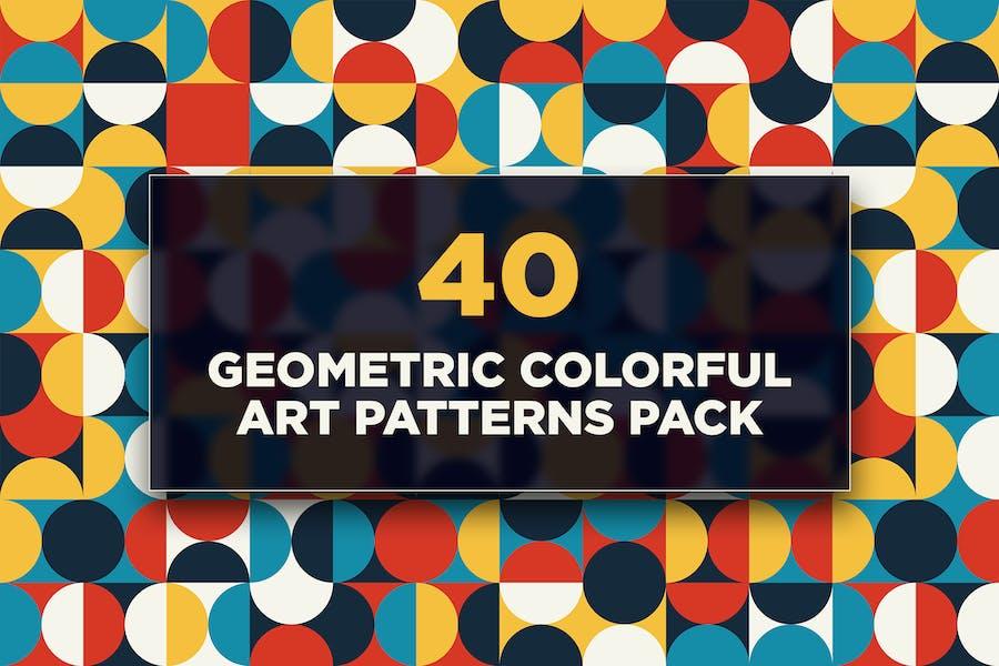 40 Geometric Colorful Art Patterns Pack