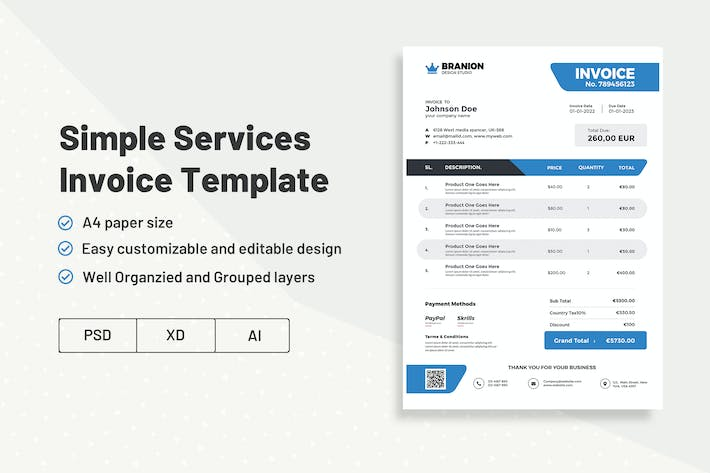 Simple Services  Invoice Template