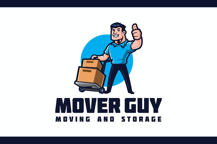 Thumbnail for Retro Mover Guy Character - Moving Service Logo
