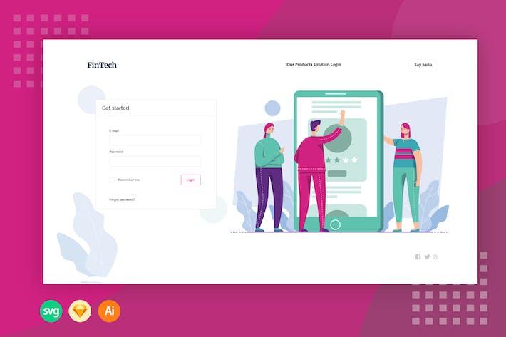 Login Financial Web - Illustration Web Header