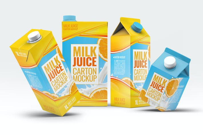 Thumbnail for 4 Types Milk / Juice Cartons Bundle Mock-Up