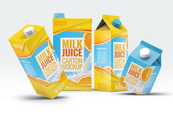 4 Arten Milch und Saft Kartons Bundle Mock-Up