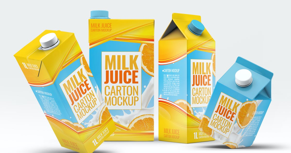 Download 4 Types Milk / Juice Cartons Bundle Mock-Up by L5Design