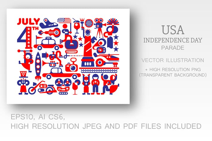 Thumbnail for USA Independence Day Parade vector illustration