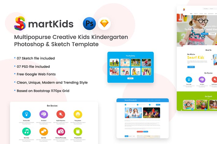 Thumbnail for Creative Kids Kindergarten PSD & Sketch Template
