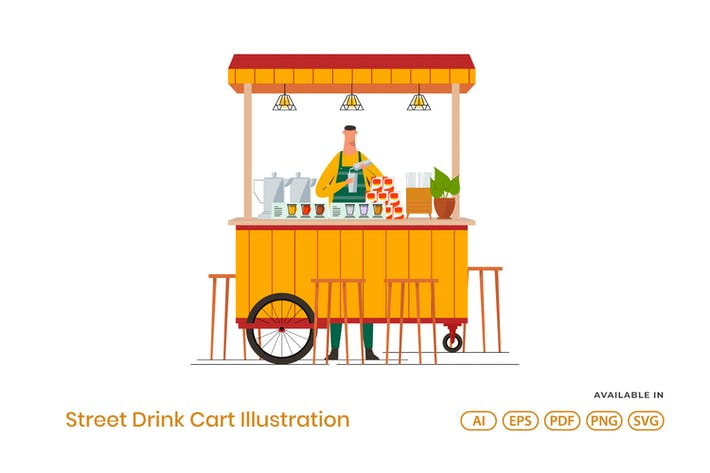 Thumbnail for Street Drink Cart Illustration