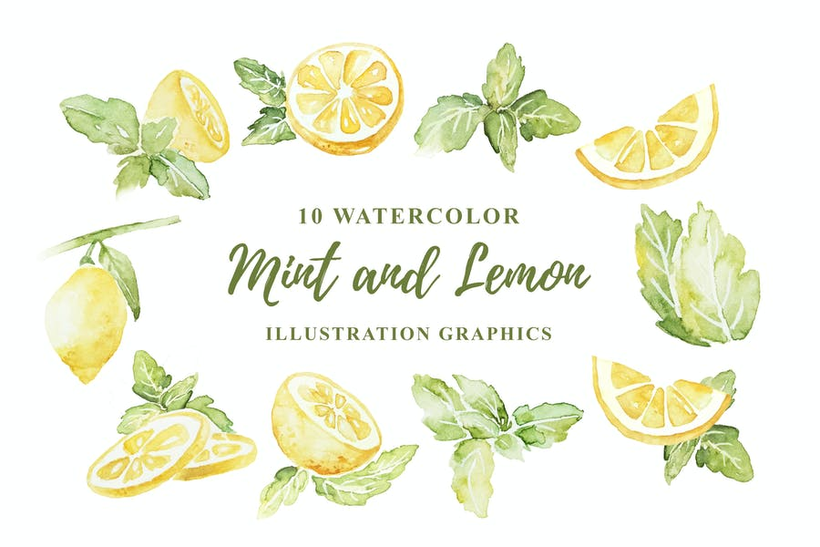 10 Watercolor Mint and Lemon Illustration Graphics
