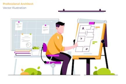 Professional Architect - Vector Illustration