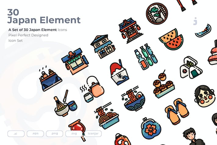 Thumbnail for 30 Japan Element Icons