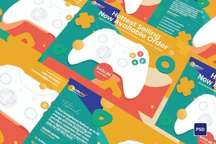 Digital Game Controller A5 Flyer PSD Template