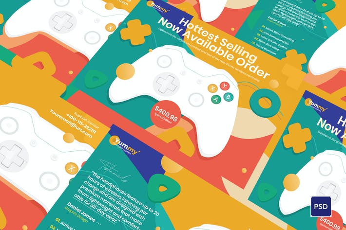 Digital Game Controller A5 Flyer PSD Template