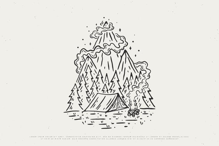 Vintage-Outdoor-Camping-Design in freier Wildbahn
