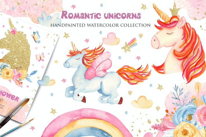 Thumbnail for Watercolor Romantic Unicorns