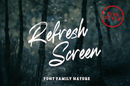 Actualiser la police de la famille Nature de l'écran