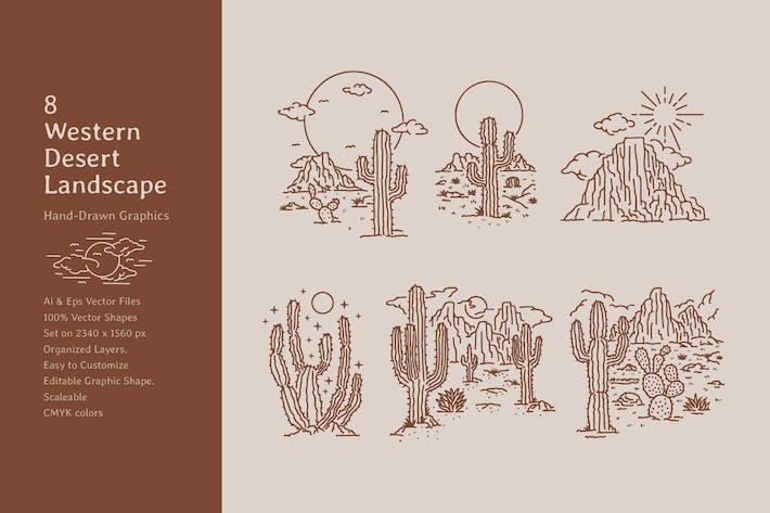 Western Desert Cactus Landscape Lineart Hand Drawn