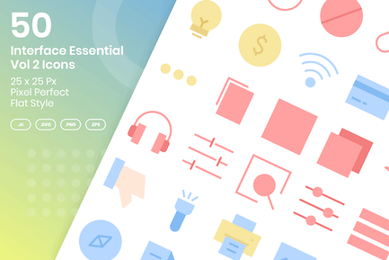 50 Interface Essential Icons Vol 2 - Flat